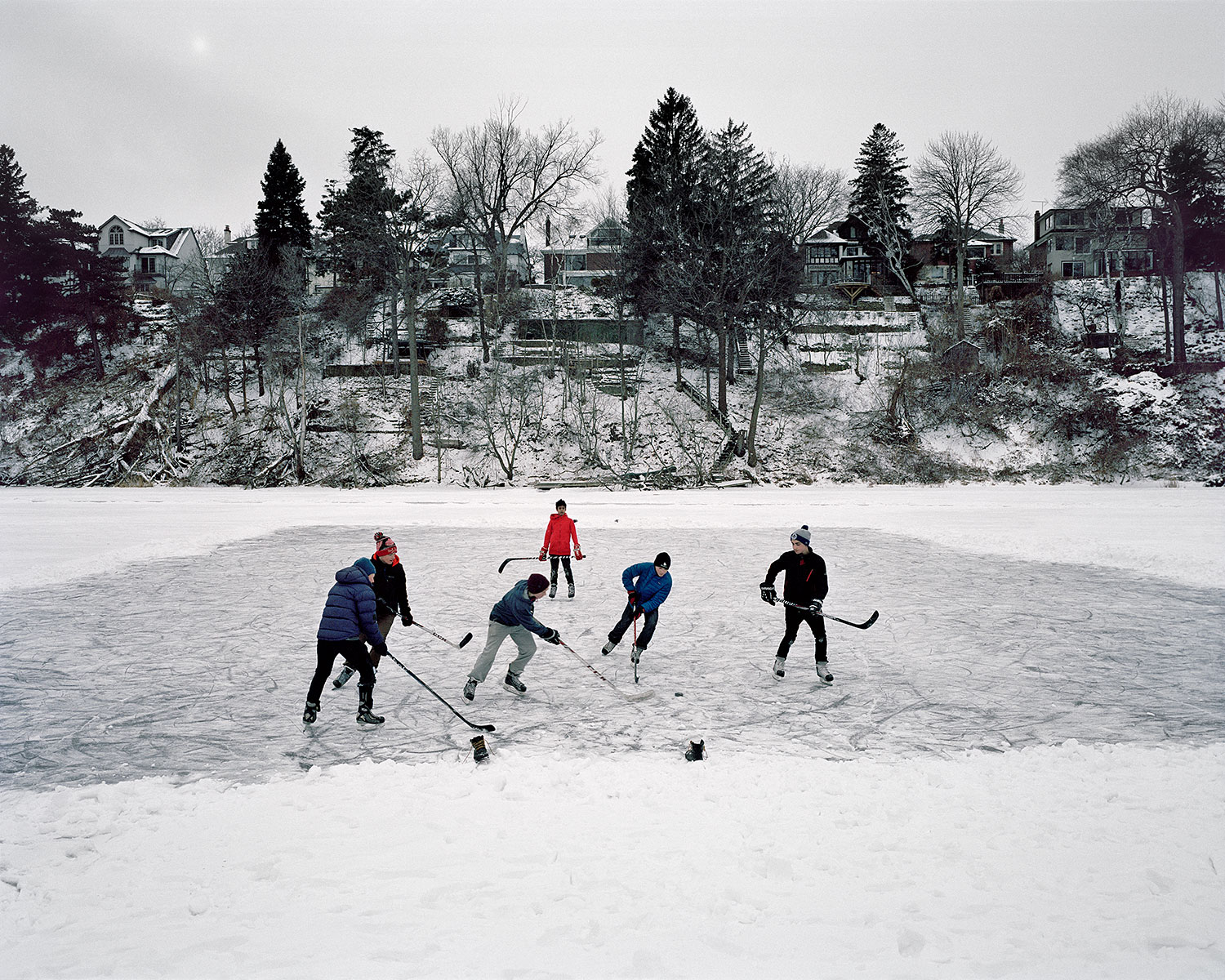 Shinny, Grenadier Pond, Toronto, Brant Slomovic Documentary Photography
